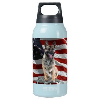German shepherd usa - patriotic dog - usa flag insulated water bottle