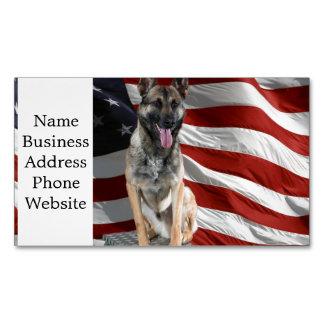 German shepherd usa - patriotic dog - usa flag magnetic business card