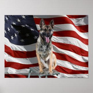 German shepherd usa - patriotic dog - usa flag poster