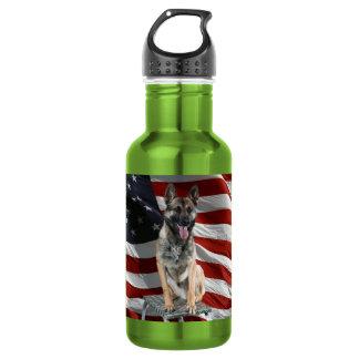 German shepherd usa - patriotic dog - usa flag stainless steel water bottle