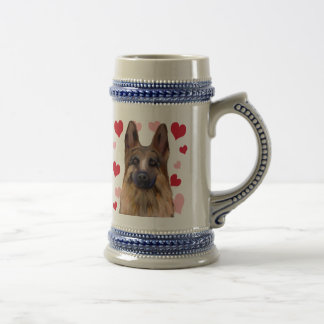 German Shepherd Valentine Beer Stein
