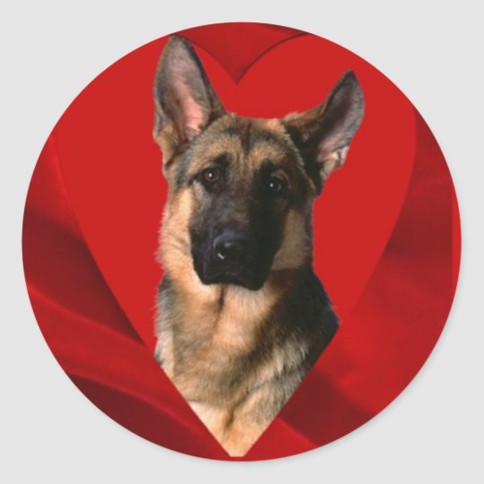German Shepherd Valentine Classic Round Sticker