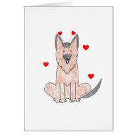 German Shepherd Valentine Ears Greeting Cards