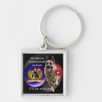 German Shepherd Warning Keychain