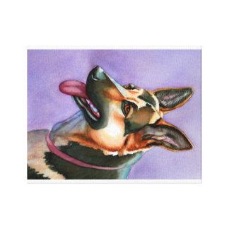 German Shepherd Watercolor Portrait on Canvas