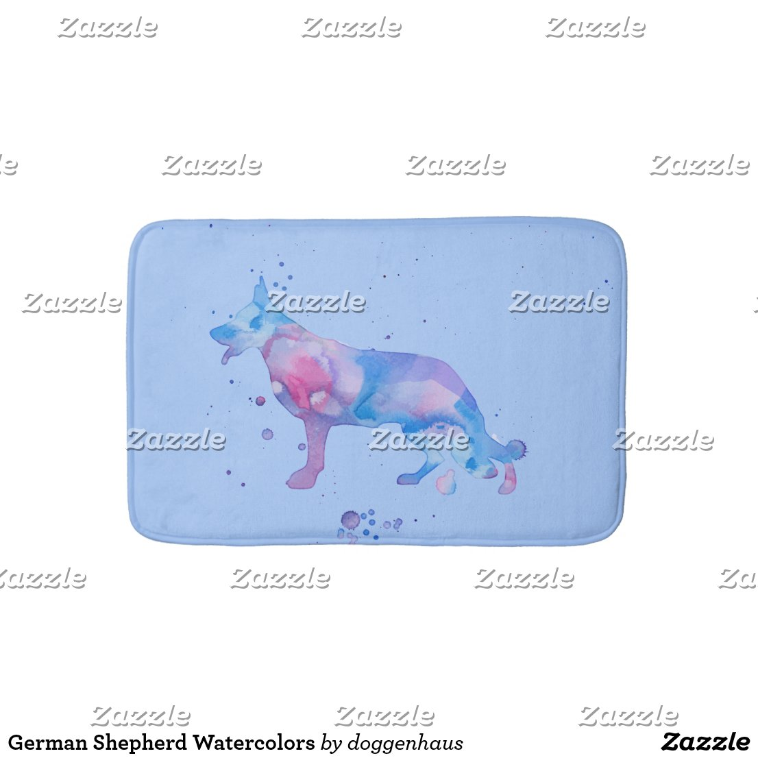 German Shepherd Watercolors Bath Mat