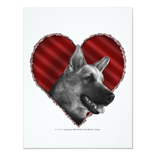 German Shepherd with Heart Card