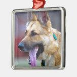 German Shepherd with Long Tongue Christmas Ornaments