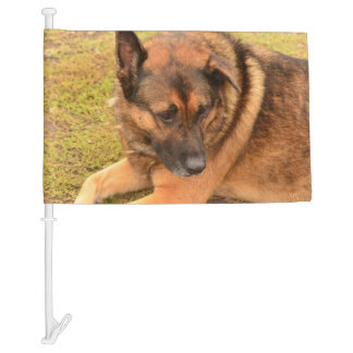 German Shepherd with One Floppy Ear Car Flag