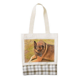 German Shepherd with One Floppy Ear Zazzle HEART Tote Bag