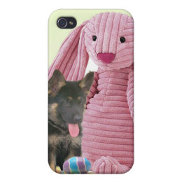 German Shepherd with Rabbit Case For iPhone 4