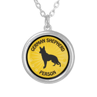German Shepherd Xing Silver Plated Necklace