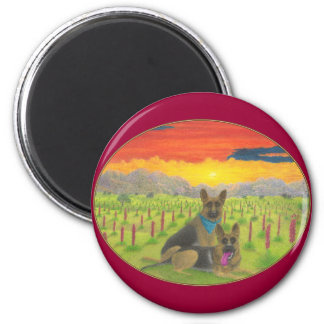 """German Shepherds At  Sunset"" 2 Inch Round Magnet"