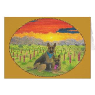 """""""German Shepherds At  Sunset"""" Greeting Card"""