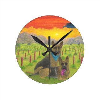 German Shepherds At Sunset Round Clock