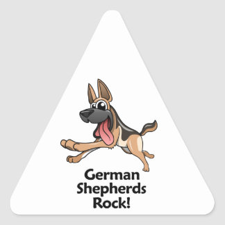 German Shepherds Rock! Triangle Sticker