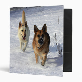German Shepherds Running in the Snow Binder