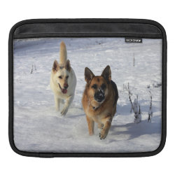 German Shepherds Running in the Snow iPad Sleeve