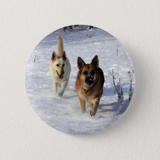 German Shepherds Running in the Snow Pinback Button