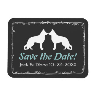 German Shepherds Silhouettes Wedding Save the Date Rectangular Photo Magnet