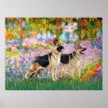 German Shepherds   two   -  Garden Print