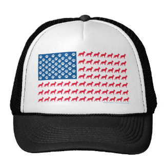 German Shhepherd Patriotic USA Flag Mesh Hats