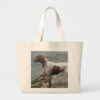 German Short Haired Pointer by a Stream Large Tote Bag