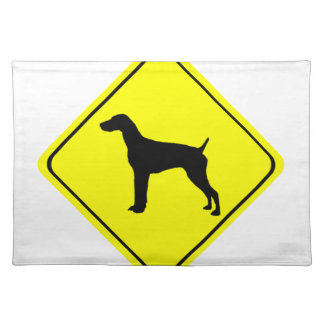 German short-Haired Pointer Dog Crossing Sign Placemats