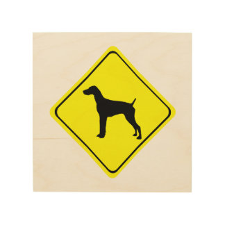 German short-Haired Pointer Dog Crossing Sign Wood Canvases