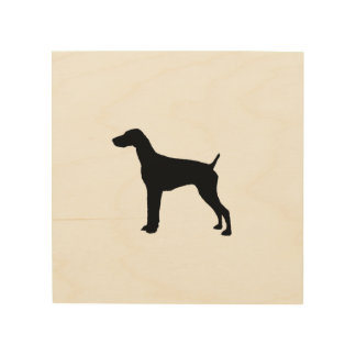German Short-haired Pointer dog Silhouette Wood Print