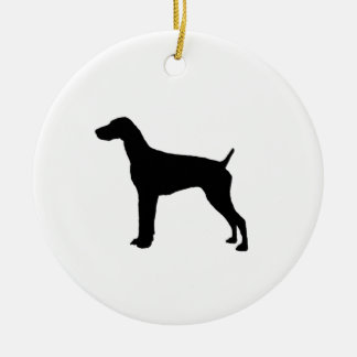 German Short-Haired Pointer Silhouette Love Dogs Ceramic Ornament