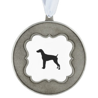 German Short-Haired Pointer Silhouette Love Dogs Pewter Ornament