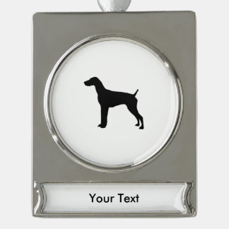German Short-Haired Pointer Silhouette Love Dogs Silver Plated Banner Ornament