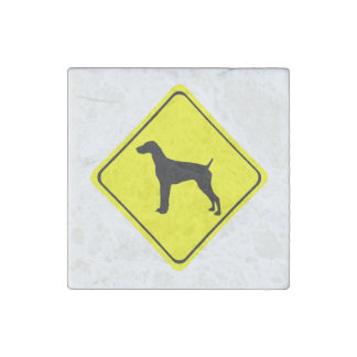 German Short-Haired Pointer Warning Sign Love Dogs Stone Magnet