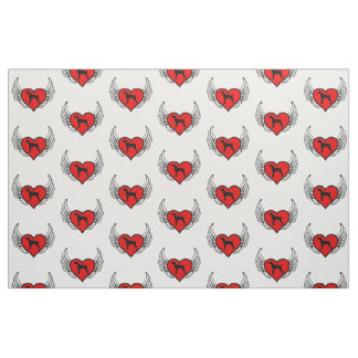 German Short-Haired Pointer Winged Heart Love Dogs Fabric