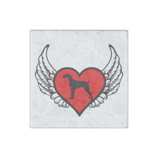 German Short-Haired Pointer Winged Heart Love Dogs Stone Magnet