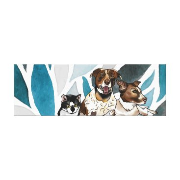 Hawaiian Themed German-Shorthair Pointer Mixes & Cat Blue Abstract Canvas Print