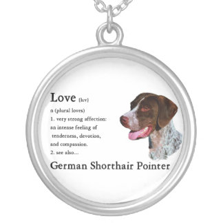German Shorthaired Pointer Art Love Is Round Pendant Necklace