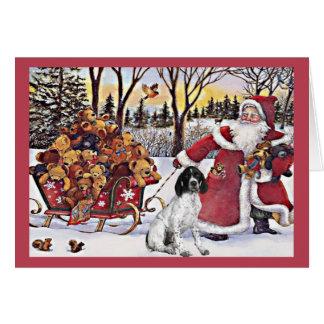 German Shorthaired Pointer Christmas Card Santa2