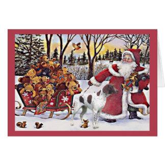 German Shorthaired Pointer Christmas Card Santa Be