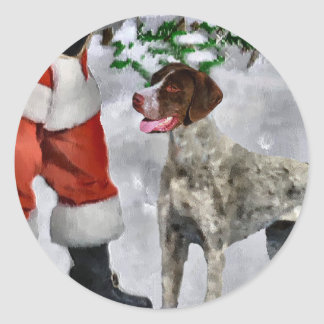 German Shorthaired Pointer Christmas Gifts Classic Round Sticker