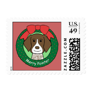 German Shorthaired Pointer Christmas Postage Stamp