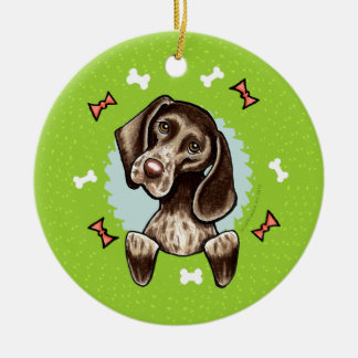 German Shorthaired Pointer Christmas Wreath Double-Sided Ceramic Round Christmas Ornament