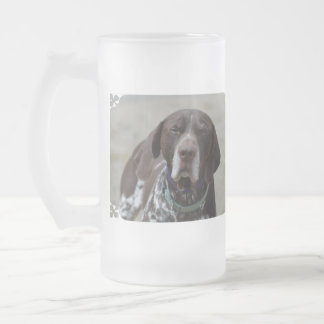 German Shorthaired Pointer Dog Frosted Glass Beer Mug