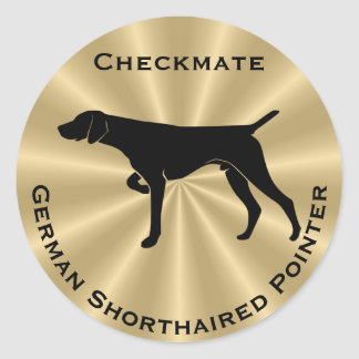 German Shorthaired Pointer Dog Silhouette Classic Round Sticker