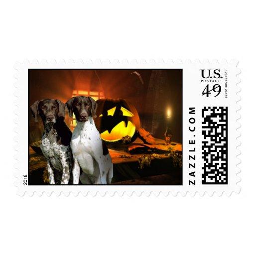 German Shorthaired Pointer Halloween Postage Stamp