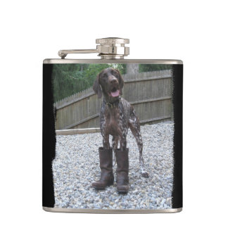 German Shorthaired Pointer in Boots Hip Flask