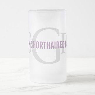 German Shorthaired Pointer Monogram Design Frosted Glass Beer Mug