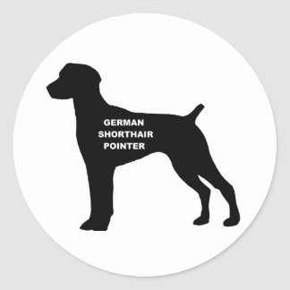 german shorthaired pointer name silhouette classic round sticker