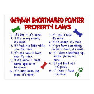 GERMAN SHORTHAIRED POINTER Property Laws 2 Post Cards